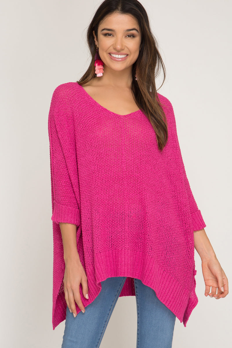 Buy Fuchsia Hi-Lo Sweater Top 3/4 Sleeves Folded Cuffs online at Southern Fashion Boutique Bliss