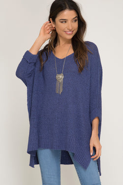 Buy Hi-Lo Sweater Top 3/4 Sleeves Folded Cuffs Cobalt Blue online at Southern Fashion Boutique Bliss