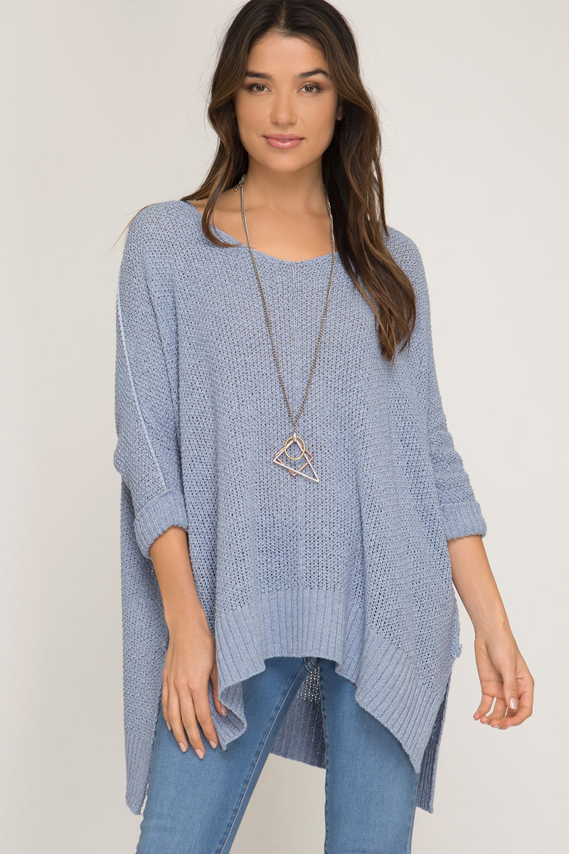 Buy Hi-Lo Sweater Top 3/4 Sleeves Folded Cuffs Ice Blue online at Southern Fashion Boutique Bliss
