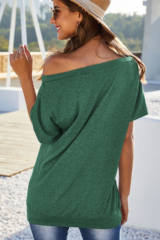Buy One Shoulder Short Sleeve Tunic Top Green online at Southern Fashion Boutique Bliss