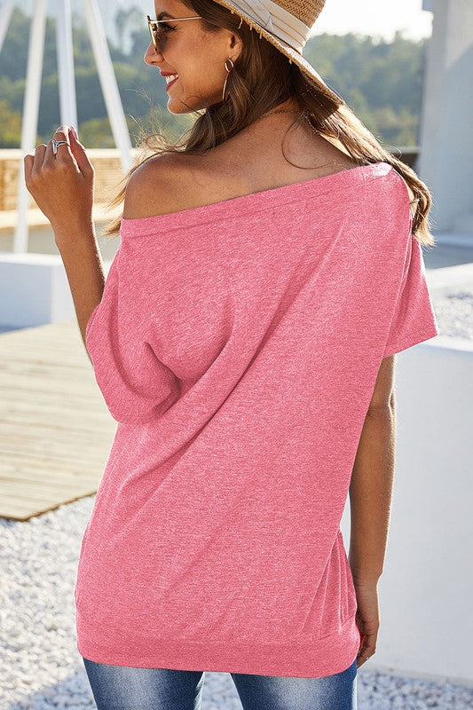One Shoulder Short Sleeve Tunic Top Pink