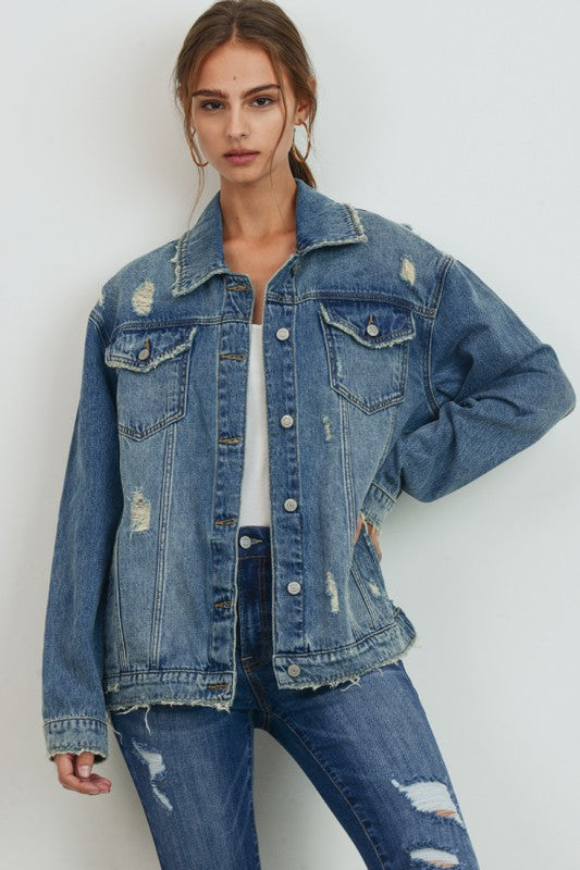 Buy Oversized Denim Jacket Medium Denim online at Southern Fashion Boutique Bliss