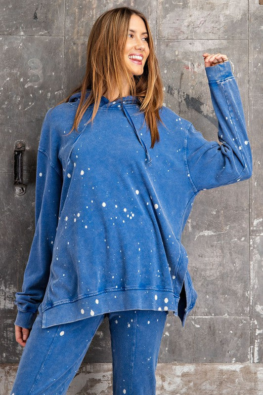 Buy Splattered Bleached Hoodie Top Blue online at Southern Fashion Boutique Bliss