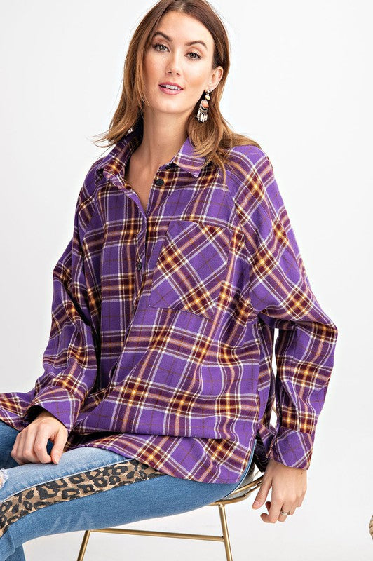 Plaid Long Sleeve Button Down Top Purple