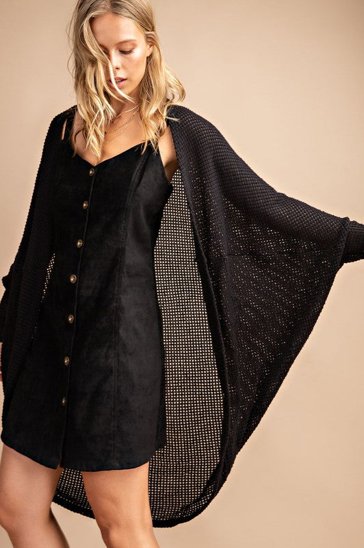 Buy Waffle Fabric Open Cardigan Black online at Southern Fashion Boutique Bliss