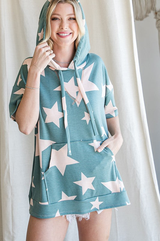 Buy Oversized Star Print Pocket Hoodie Turquoise online at Southern Fashion Boutique Bliss