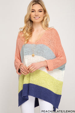 Hi Low Striped 3/4 Sleeve Sweater Top Peach