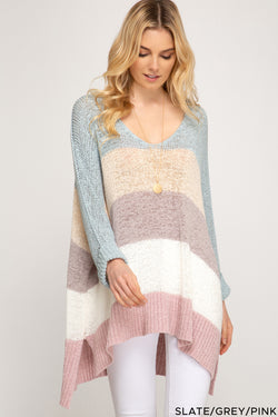 Hi Low Striped 3/4 Sleeve Sweater Top Slate