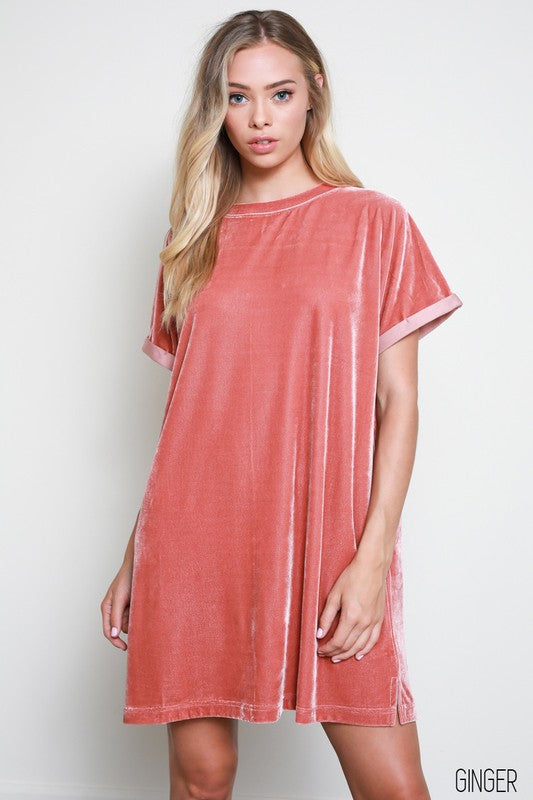 Buy Short Sleeve Velvet Tunic Mini Dress Ginger online at Southern Fashion Boutique Bliss