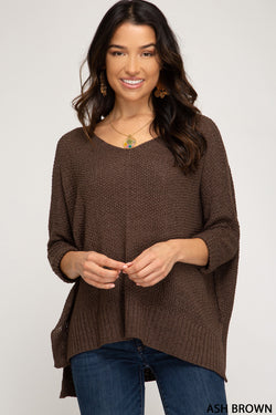 Buy Hi-Lo Sweater Top 3/4 Sleeves Folded Cuffs Ash Brown online at Southern Fashion Boutique Bliss