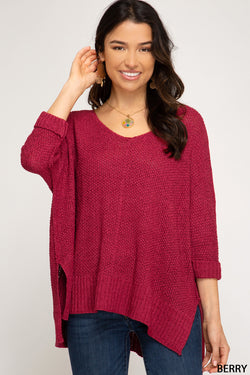 Buy Hi-Lo Sweater Top 3/4 Sleeves Folded Cuffs Berry online at Southern Fashion Boutique Bliss