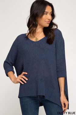 Buy Hi-Lo Sweater Top 3/4 Sleeves Folded Cuffs Dusty Blue online at Southern Fashion Boutique Bliss