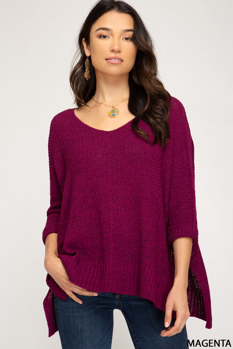 Buy Hi-Lo Sweater Top 3/4 Sleeves Folded Cuffs Magenta online at Southern Fashion Boutique Bliss