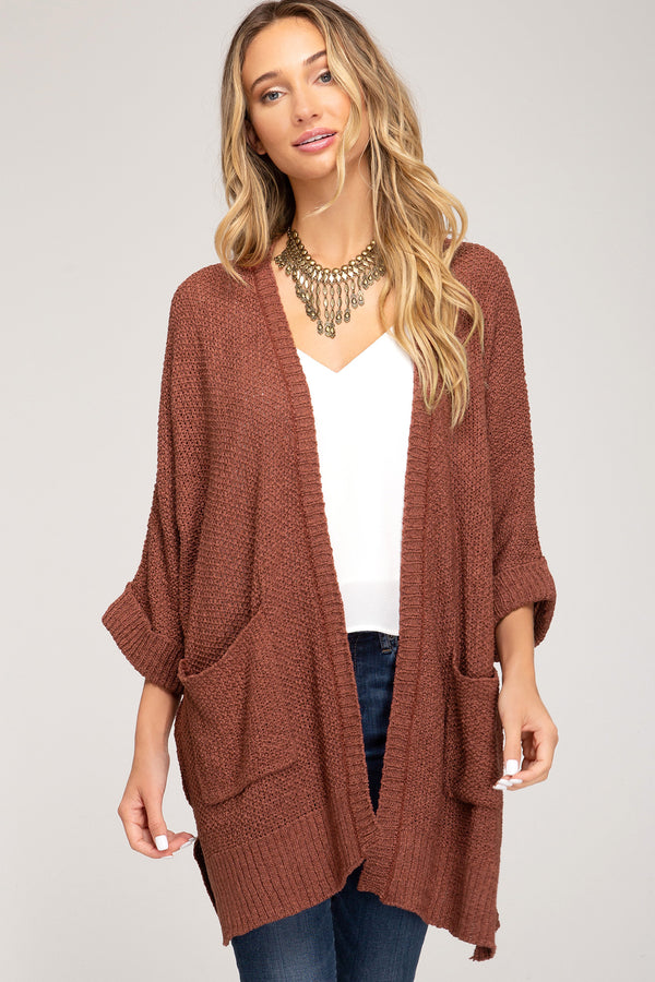 Buy Half Sleeve Open Front Sweater Cardigan Cinnamon online at Southern Fashion Boutique Bliss