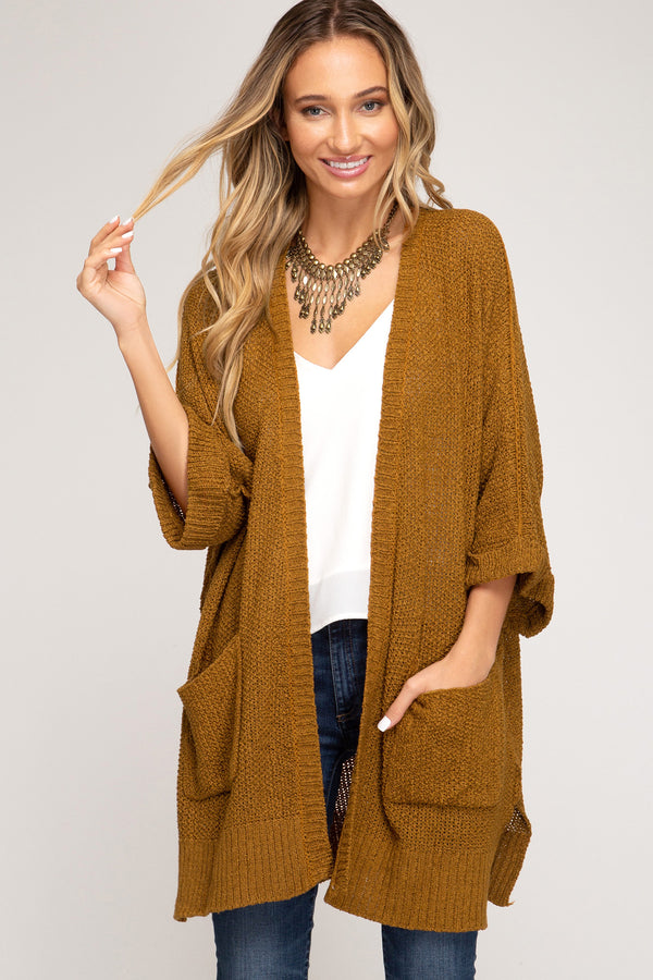 Half Sleeve Open Front Sweater Cardigan Caramel - Athens Georgia Women's Fashion Boutique