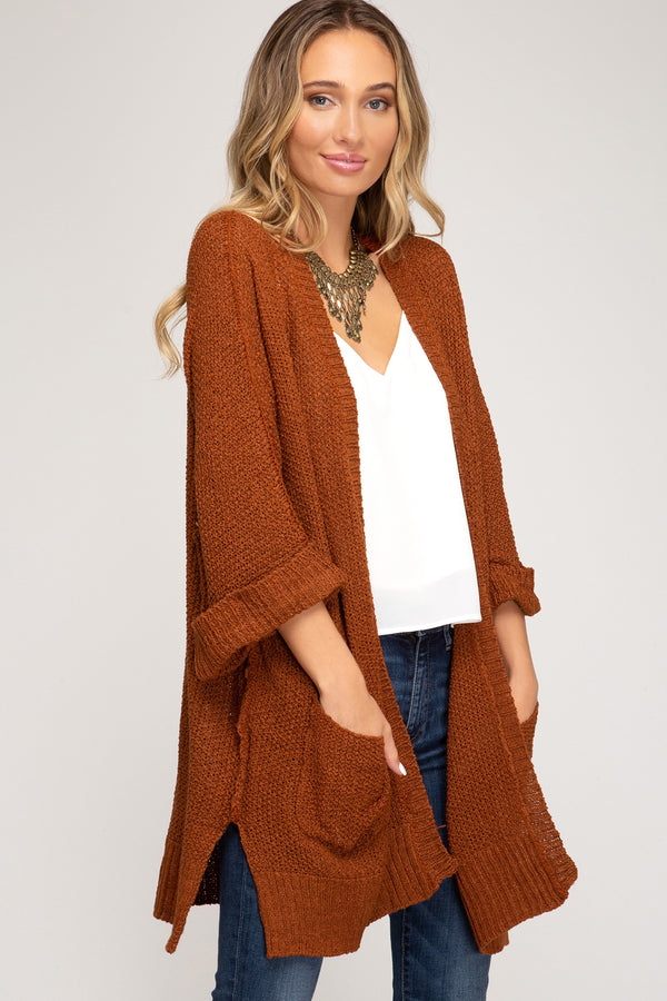 Half Sleeve Open Front Sweater Cardigan Rust