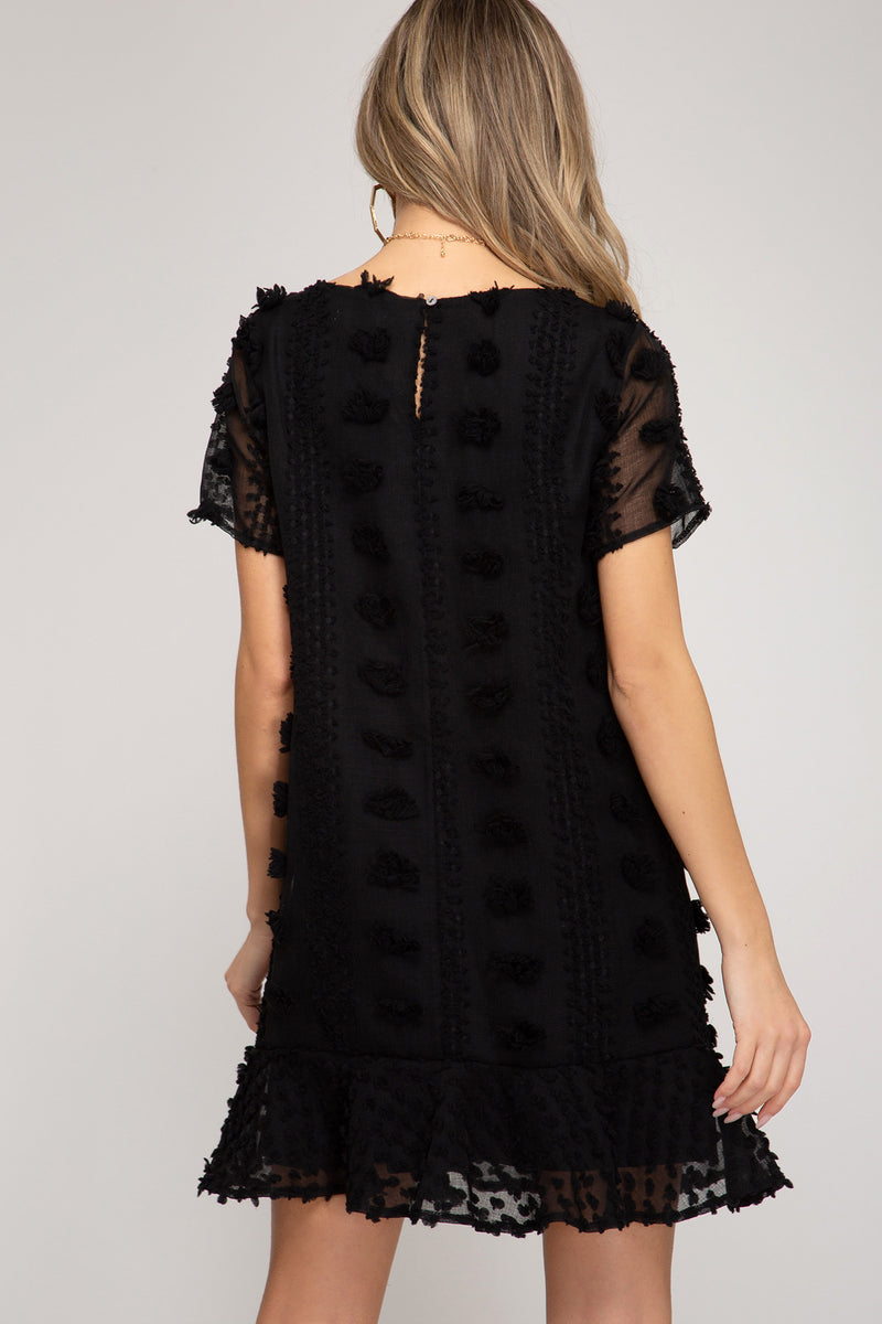 Half Sleeve Applique Dress Black