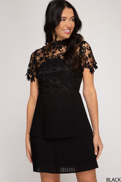Short Sleeve Laced Top Dress Black