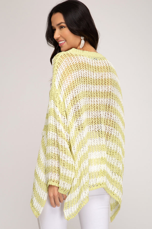 Buy Striped Oversized Knit Sweater Top Mustard online at Southern Fashion Boutique Bliss