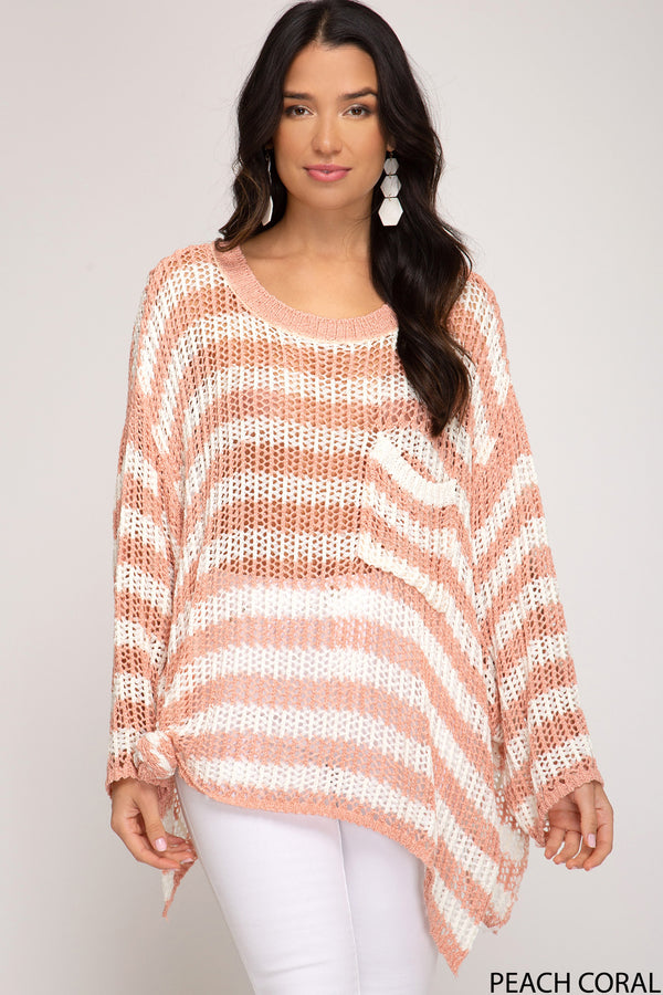 Striped Oversized Knit Sweater Top  Peach