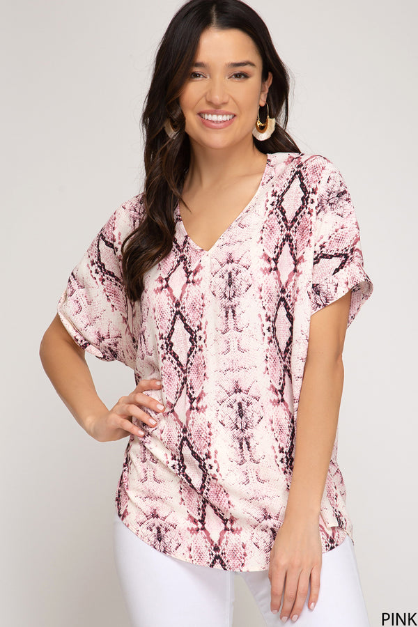 Drop Shoulder Woven V-Neck Top Pink
