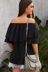 Buy Off Shoulder Ruffled Sleeve Shirt Black online at Southern Fashion Boutique Bliss