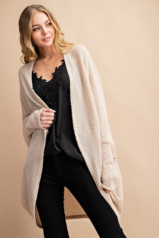 Buy Waffle Fabric Open Cardigan Oatmeal online at Southern Fashion Boutique Bliss