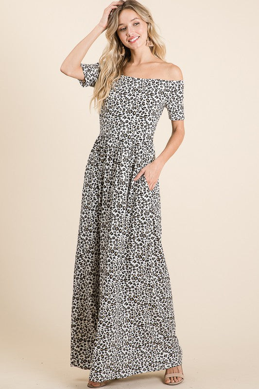 Buy Off Shoulder Leopard Pocket Dress Ivory online at Southern Fashion Boutique Bliss