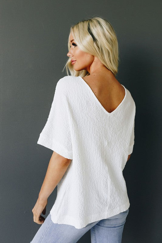 Buy Button Down V-Neck Top White online at Southern Fashion Boutique Bliss