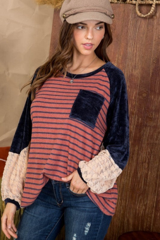 Round Neck Front Pocket Knit Top Brick