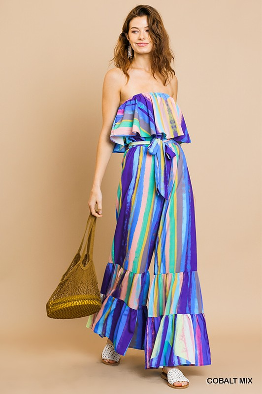 Buy Watercolor Ruffle Tube Wide Ruffle Jumpsuit Cobalt online at Southern Fashion Boutique Bliss