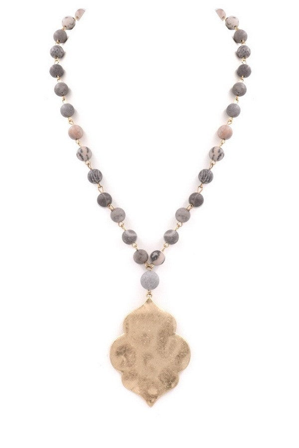 Buy Stone Bead Hammered Metal Pendant Grey online at Southern Fashion Boutique Bliss