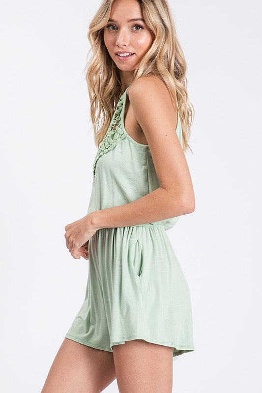 Buy Crochet Lace Detail Romper Mint online at Southern Fashion Boutique Bliss
