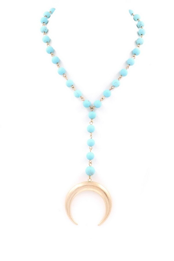 Buy Stone Bead Metal Crescent Pendant Necklace Turquoise online at Southern Fashion Boutique Bliss