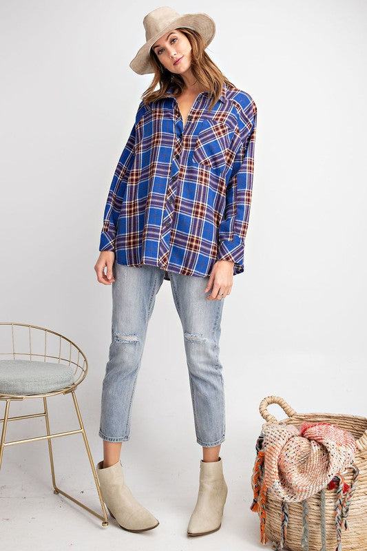 Plaid Long Sleeve Button Down Top  Blue
