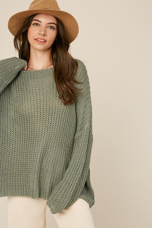 Buy Loose Knit Crochet Sweater Sage online at Southern Fashion Boutique Bliss