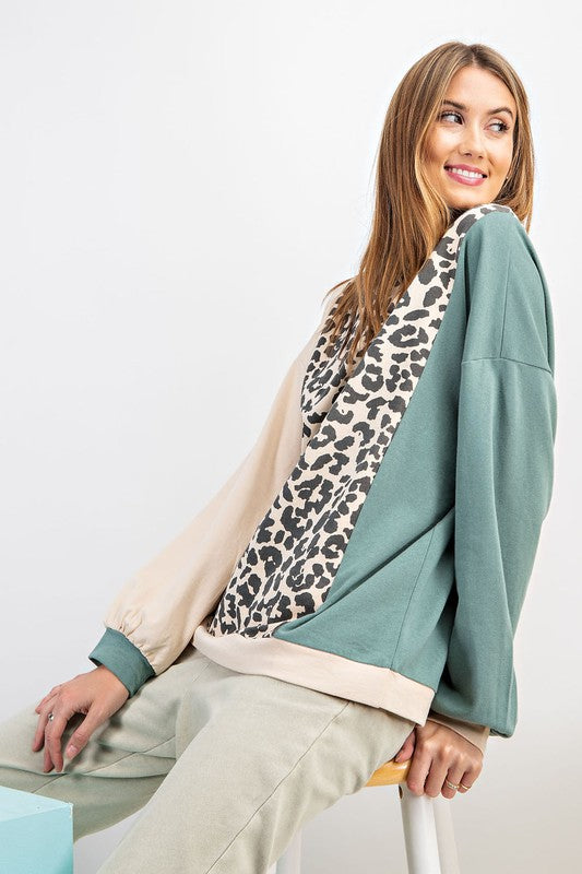 Color Block Animal Print Pullover Teal