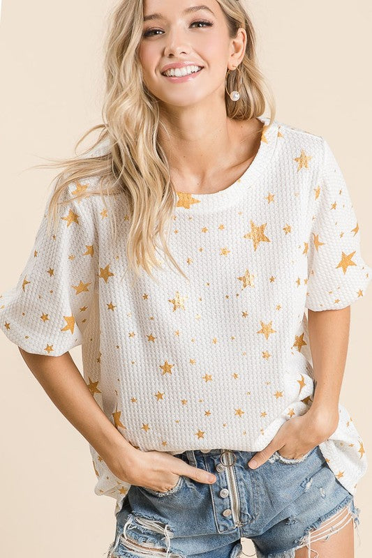 Buy All Over Star Foil Thermal Waffle Top Ivory online at Southern Fashion Boutique Bliss