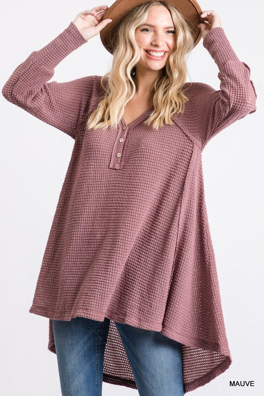 Buy Button V-Neck Waffle Knit Top Mauve online at Southern Fashion Boutique Bliss