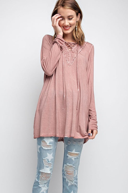 Lace Up Washed Tunic Top Mauve