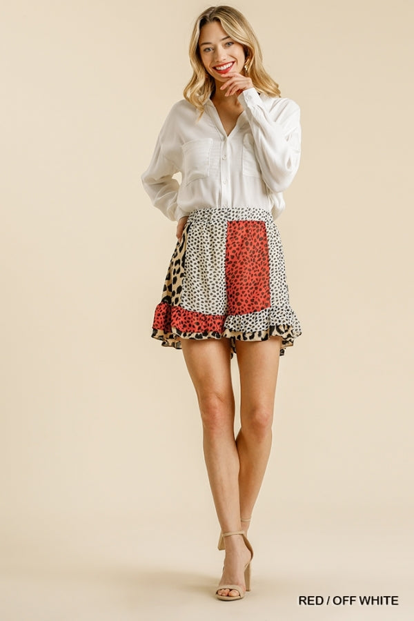 Animal Mixed Print Elastic Waist Shorts Red