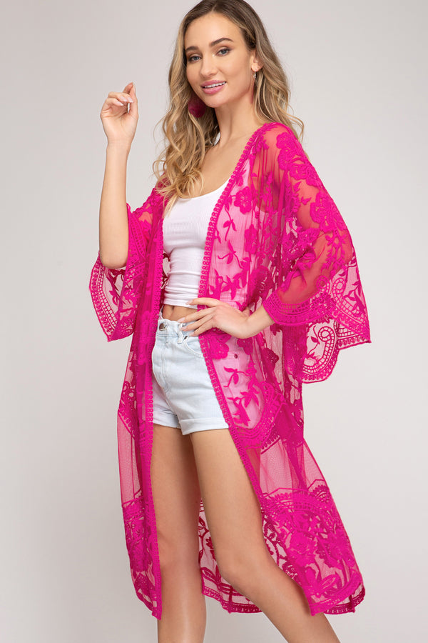 Buy Kimono Sleeve Crochet Lace Cardigan Magenta online at Southern Fashion Boutique Bliss