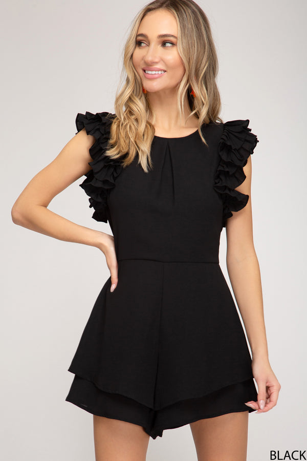 Buy Pleated Layered Sleeve Romper Black online at Southern Fashion Boutique Bliss