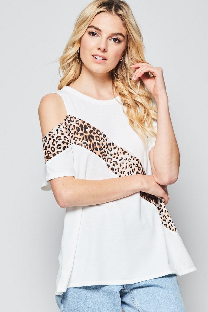Buy One Shoulder Knit Top with Leopard Panel Ivory online at Southern Fashion Boutique Bliss