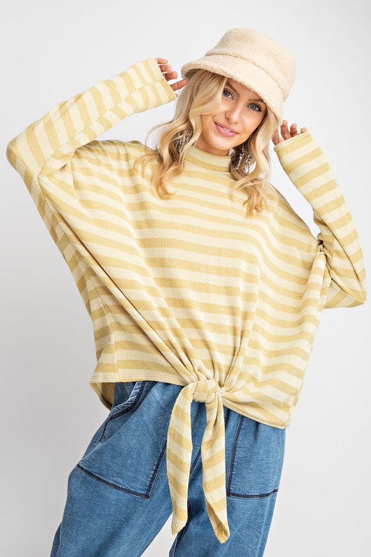 Buy Ribbed Stripe Mock Neck Tunic Top Mustard online at Southern Fashion Boutique Bliss