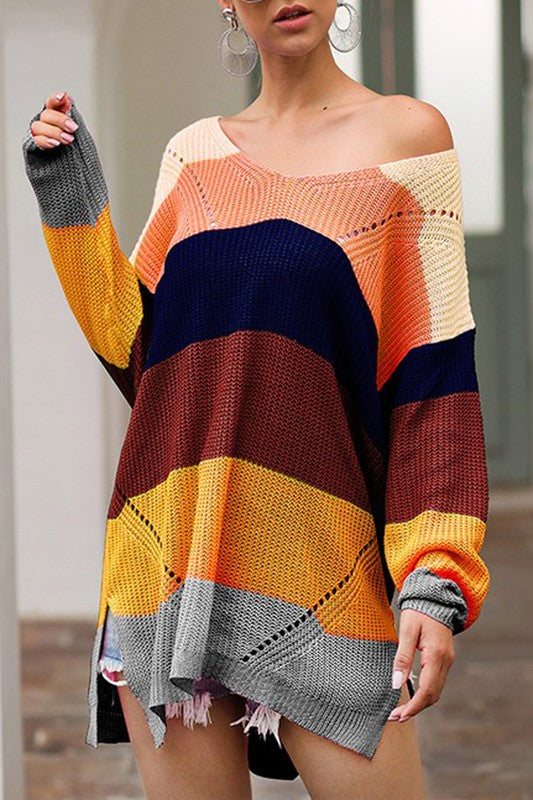 Buy Wide V-Neck Color Block Sweater Mustard online at Southern Fashion Boutique Bliss