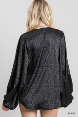 Buy Satin Draped Bubble Sleeve Top Black online at Southern Fashion Boutique Bliss