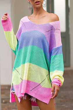 Buy Wide V-Neck Color Block Sweater Pink online at Southern Fashion Boutique Bliss