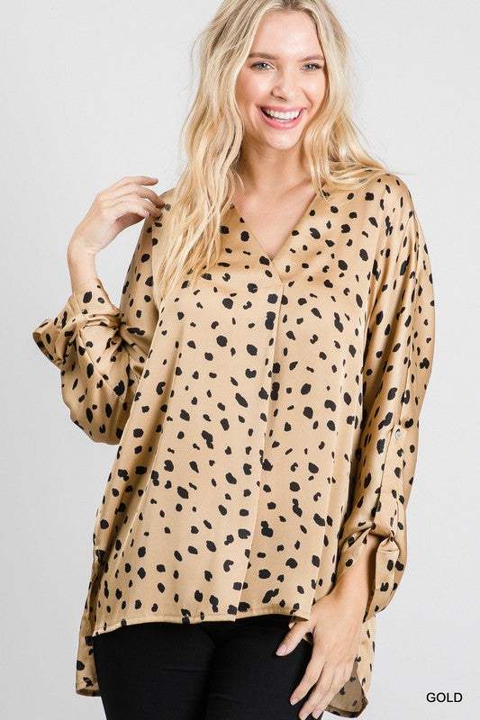 Satin Cheetah Print Top Gold