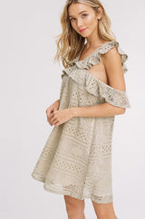 Buy Lace Crochet Cold Shoulder Ruffle Shift Dress Olive online at Southern Fashion Boutique Bliss